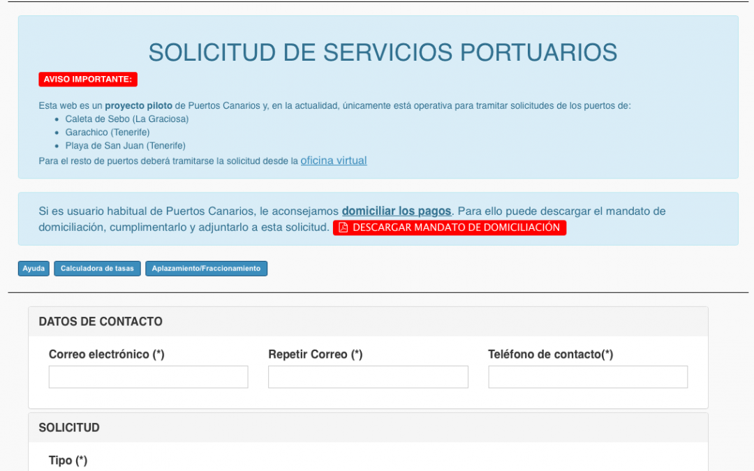 Puertos Canarios habilita un nuevo procedimiento para gestionar la solicitud de servicios portuarios por vía electrónica