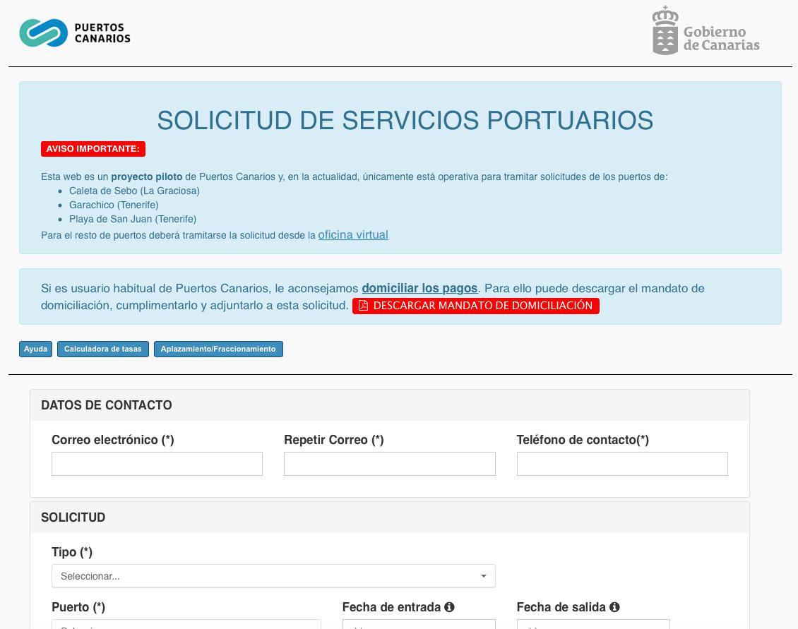 Puertos canarios habilita un nuevo procedimiento para for Oficina virtual gobierno de canarias