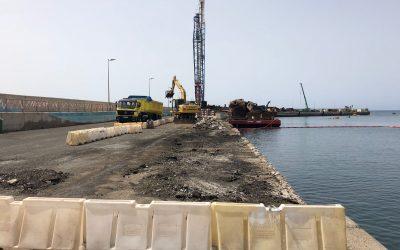 Puertos Canarios ya ha iniciado las obras de rehabilitación del puerto de Gran Tarajal